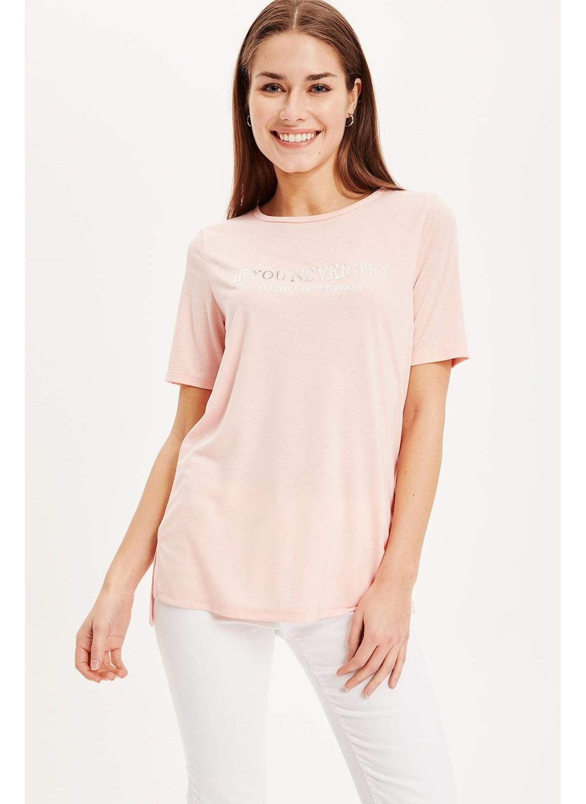Defacto Baskılı V Yakalı Kısa Kollu T-shirt K7935az19sppn127t-shirt – 29.99 TL